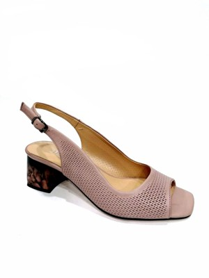 mink color  leather sandals with beautiful perforation