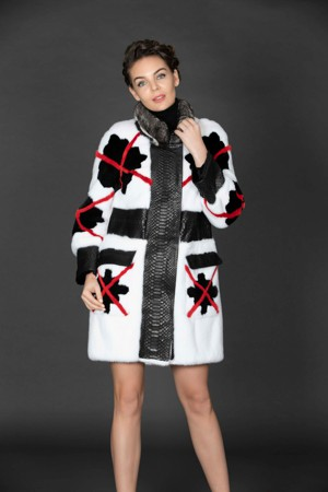 Mink Coat with Chinchilla Trim and Python Details